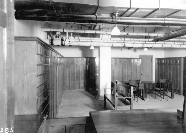 CVA 152-1.221 - [Employee locker room at the third CPR station] c1914