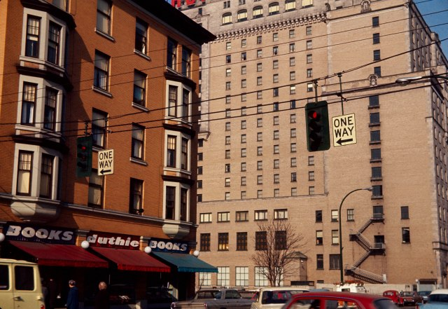 CVA 780-40 - [View of the Richmond Apartments and the rear of the Hotel Vancouver] Feb 1966