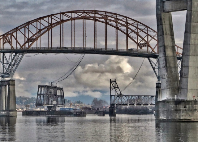 New Westminster Swingspan Trestle Open (looking beneath the Patullo Bridge)