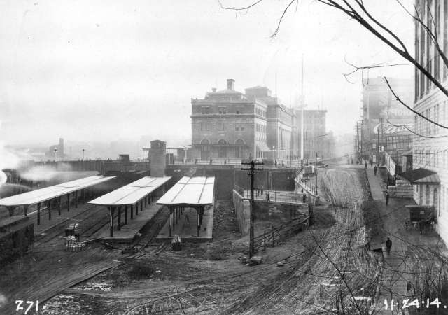 NOPE ! Looking EAstward - CVA 152-1.098 - [Construction progress photograph of the third CPR station] 24 NOv 1914 - View is looking west along Cordova St. Photograph shows passenger plat