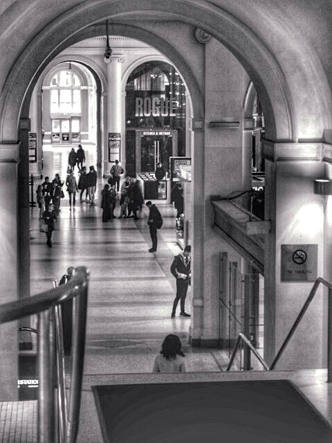 View from the top of the western wing stairs, looking east within Waterfront Station. 2018. Wes Hiebert photo