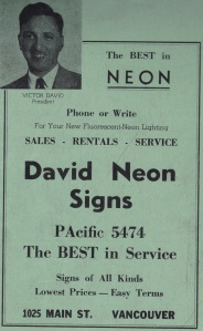 David Neon Ad in 1948 BC Buyers Guide Sun Directories