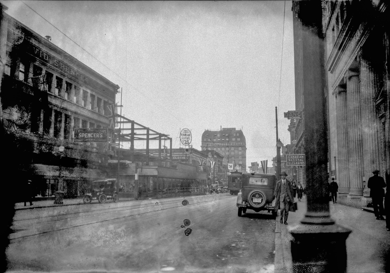 CVA 99-2271 - Taken for Duker and Shaw Billboards Ltd. [Hastings Street looking east from Seymour Street] ca 1926 Stuart Thomson