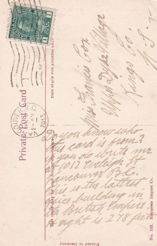 Message Side - Cancelled in 1913.