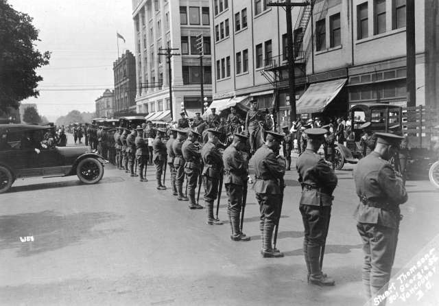 Mil P107 - [Military honour guard on Georgia Street between Seymour Street and Richards Street] 1918-21 Stuart Thomson