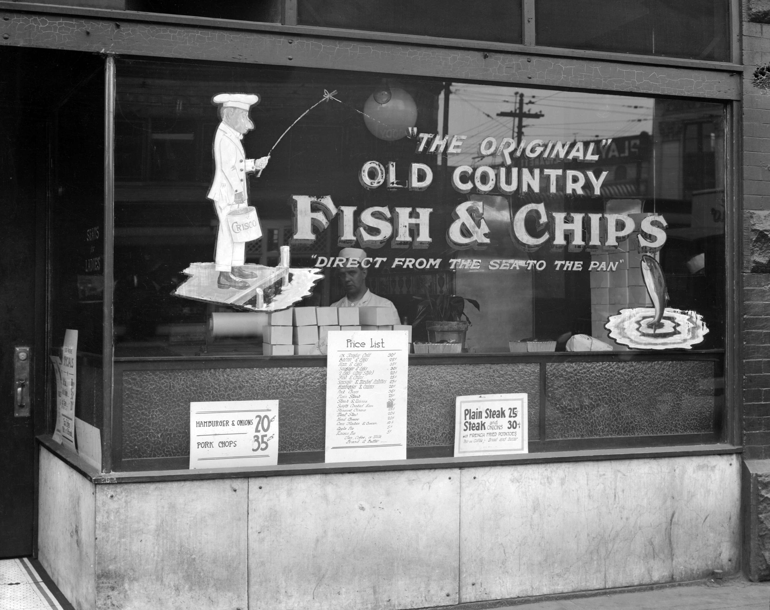 CVA 99-3455 - The Original Old Country Fish and Chips store [6 East Hastings Street] 1923 Stuart Thomson