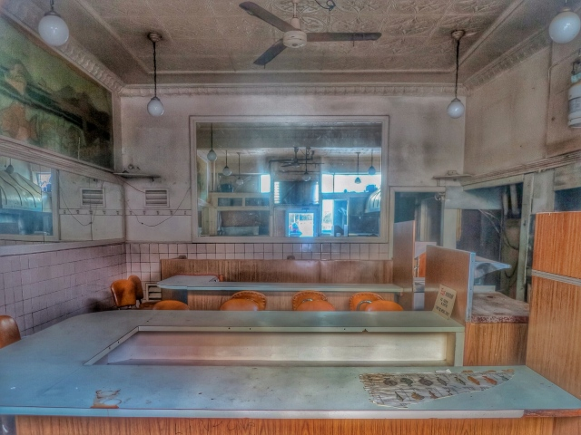 The Only Seafood Interior (Taken through front window) - Closed. ca 2014