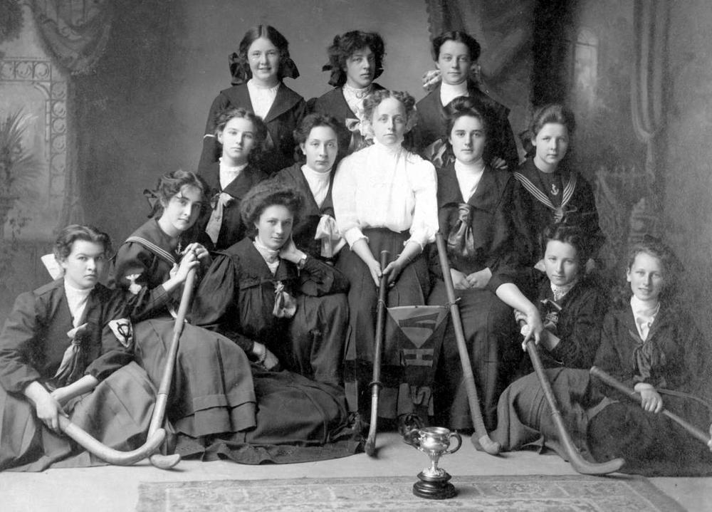 b-03501_141 - Item B-03501 - Victoria High School Girls' Hockey Team, Cecilia Green in white blouse. 190-