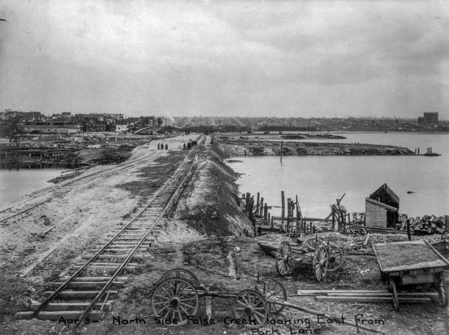 CVA 113-5 - Apr 3 - North side False Creek looking east from Park Lane 1913