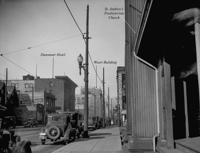 CVA 99-2592 - [Richards Street scene (showing telephone poles taken for Col. Tait)] 1931 Stuart Thomson