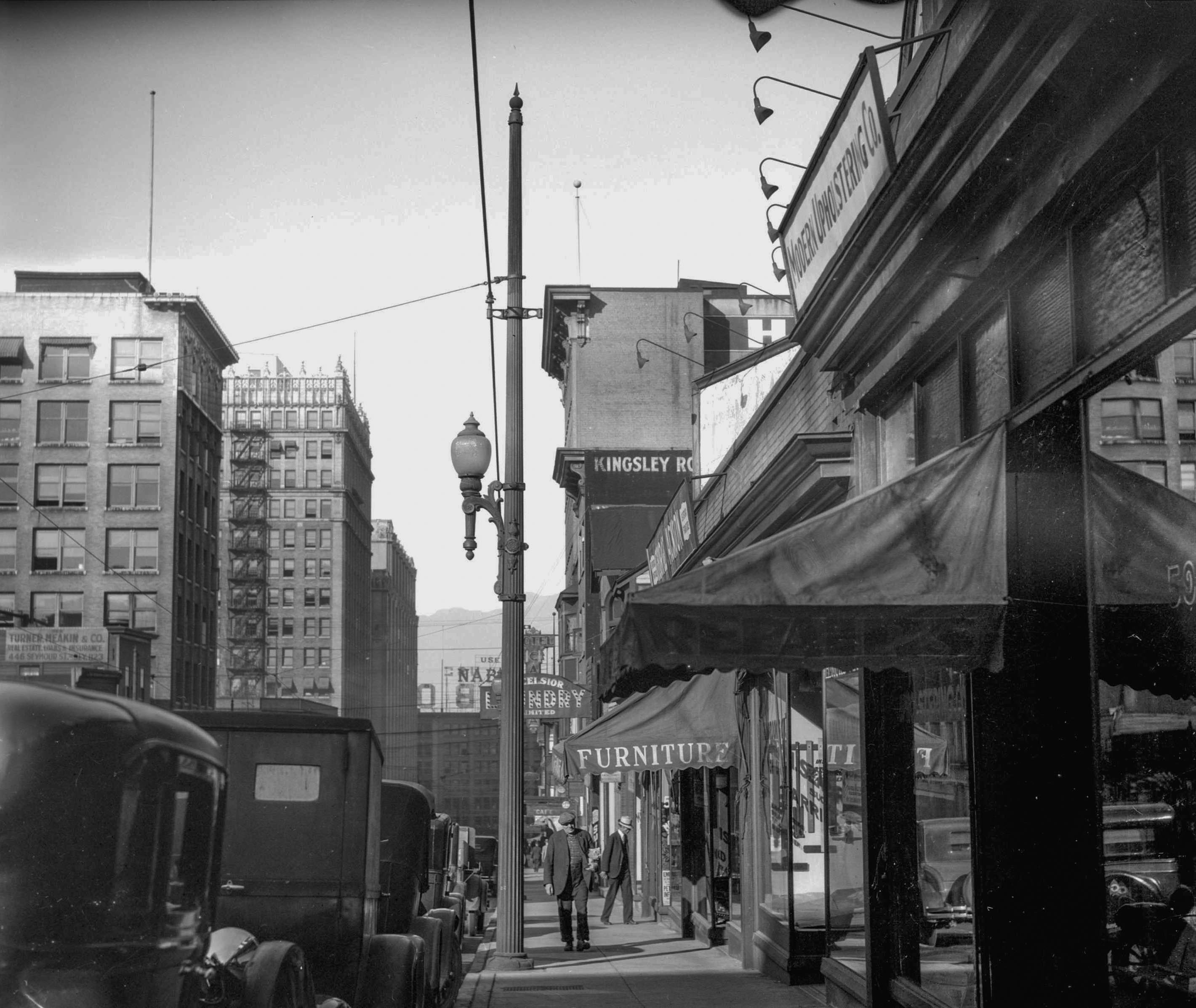 CVA 99-2593 - [Richards Street scene (showing telephone poles taken for Col. Tait)] 1931 Stuart Thomson