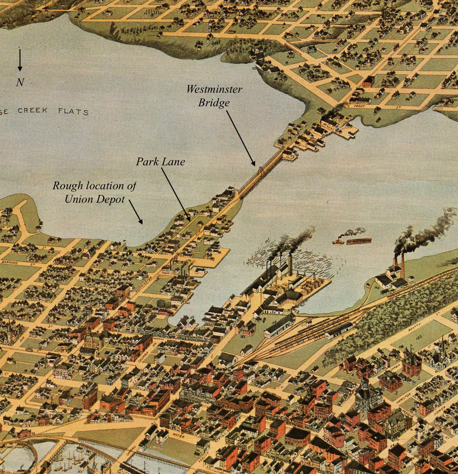 CVA - Crop of Map 547 - Panoramic view of City of Vancouver, 1898. Vancouver World