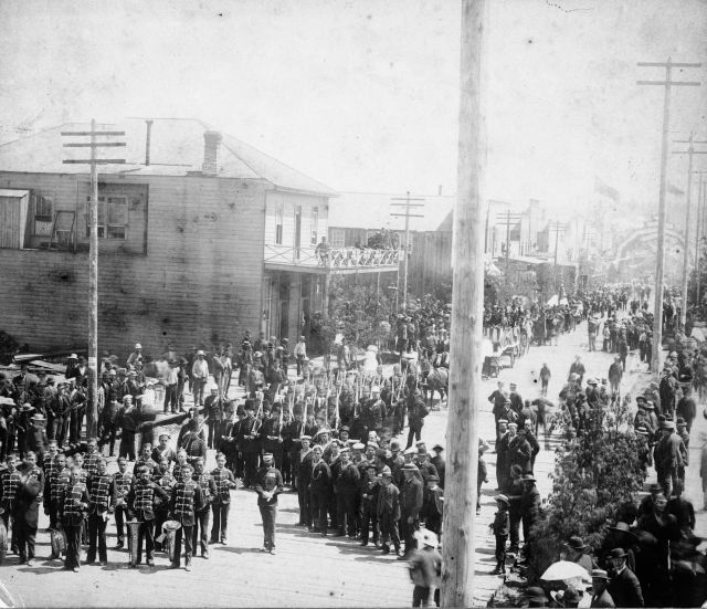 cva 149-04 - section of dominion day parade on cordova street between abbott and cambie looking east july 1 1887 j a brock photo