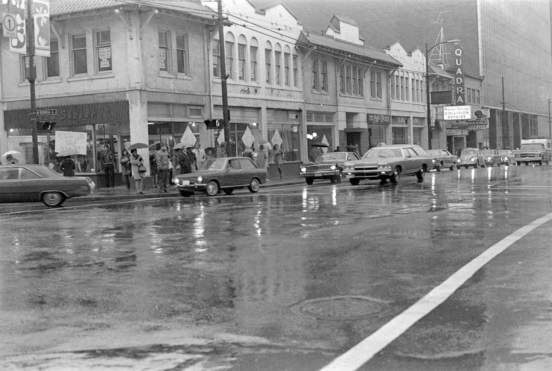 cva 69-21.07 - seymour street businesses across w. georgia street intersection ernie fladell 1972-74