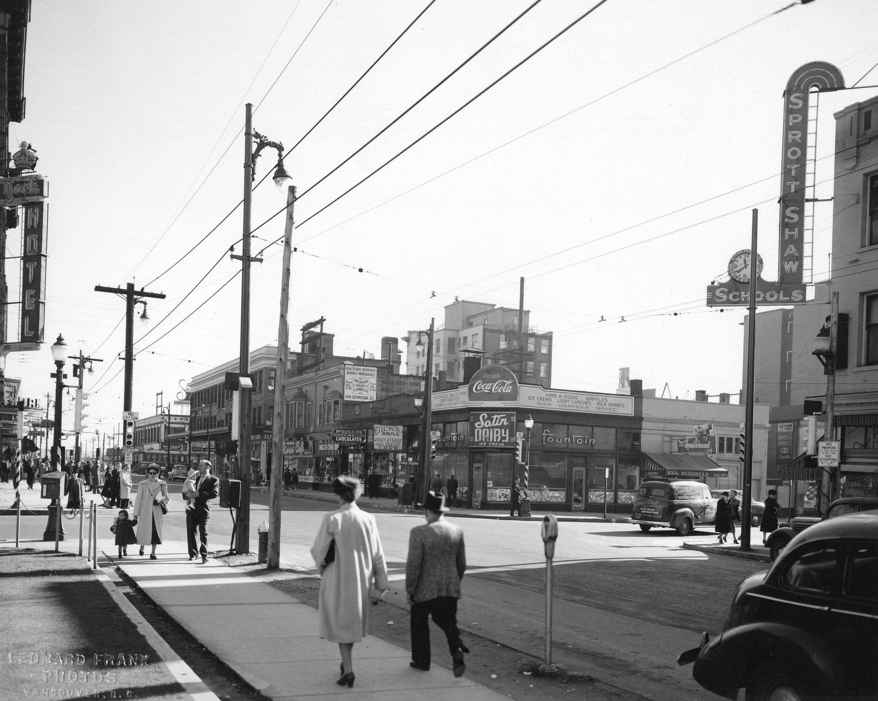 Str P258 - [The south side of Robson Street looking east from Howe Street] 1948 O F Landauer photo