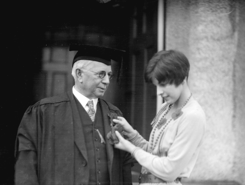 CVA 99-1955 - Dr. R.E. McKecknie, tag day at U.B.C. 1929 Stuart Thomson