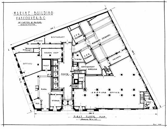 Vpl 12016 First floor plan of Marine Bldg Nov 1931 Leonard Frank