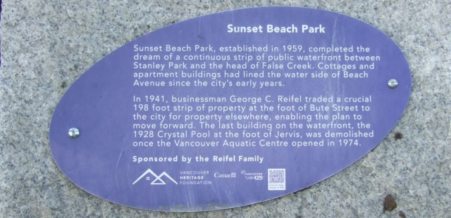 Sunset Beach Reifel plaque