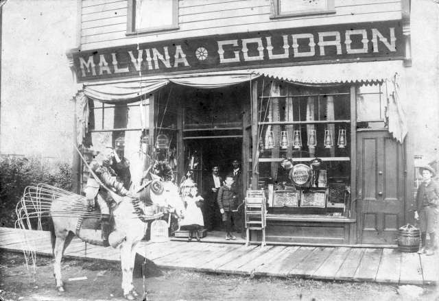 Ch P95 - [Exterior of Malvina [G]oudron hardware (formerly First Baptist Church) on Westminister Avenue] ca 1890 Harry T Devine