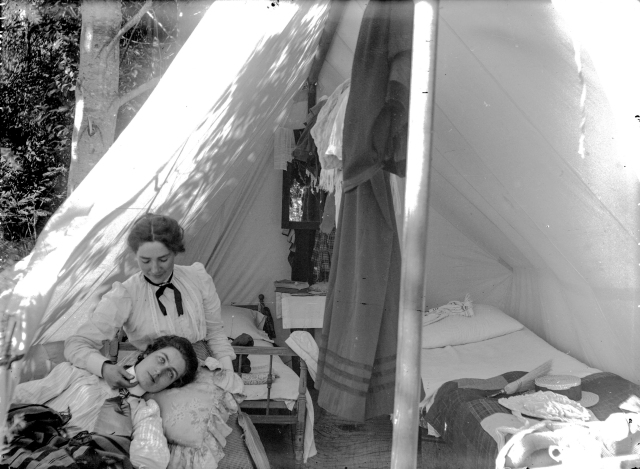 SGN 167 - [Two women seated in front of tent at Greer's Beach (Kitsilano Beach) 1894? Bailey Bros